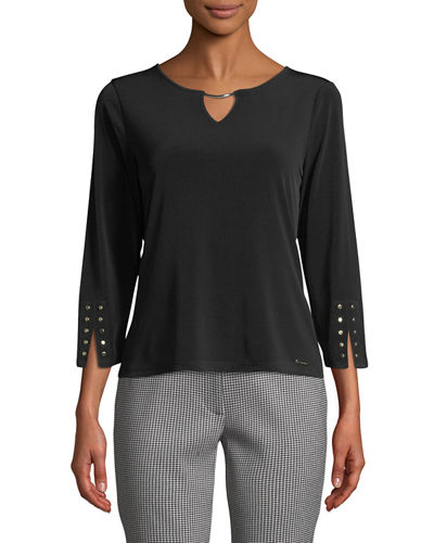 Iconic American Designer Hardware-Trimmed Keyhole Knit Top