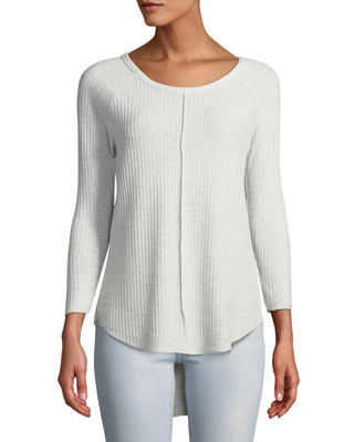 SWEET ROMEO 3/4-Sleeve High-Low Thermal Top in Gray