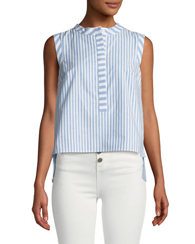 Milly Pleated-Back Sleeveless Striped Cotton-Blend Shirt