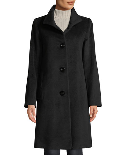 Button-Front Wool Coat