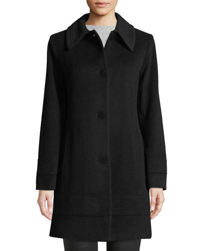Wool-Blend Fitted Coat