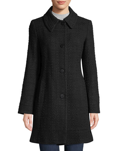 Fitted Tweed Band-Hem Coat