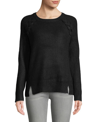 Lattice-Shoulder Ribbed Pullover Sweater