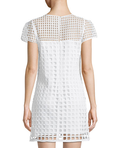 Chloe Mesh-Illusion Shift Dress