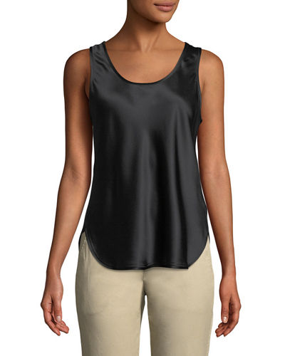 Silk Scoop-Neck Bias Tank