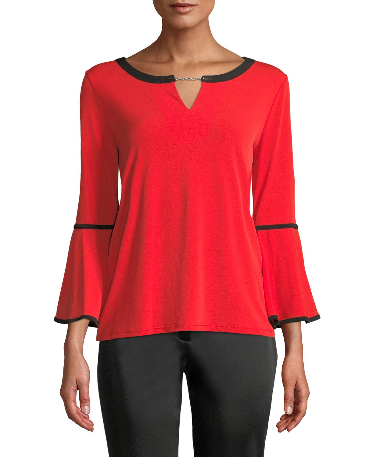 Bell-Sleeve Keyhole Top