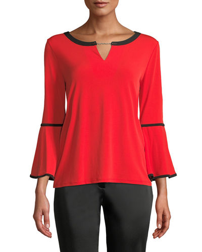 Iconic American Designer Bell-Sleeve Keyhole Top