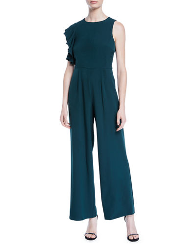 Ruffle-Shoulder Crepe Wide-Leg Jumpsuit