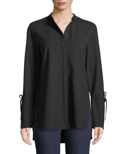 Lafayette 148 New York Desra Bell-Sleeve Stretch-Wool Blouse