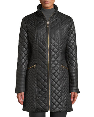 DIAMOND-QUILTED MID-LENGTH COAT