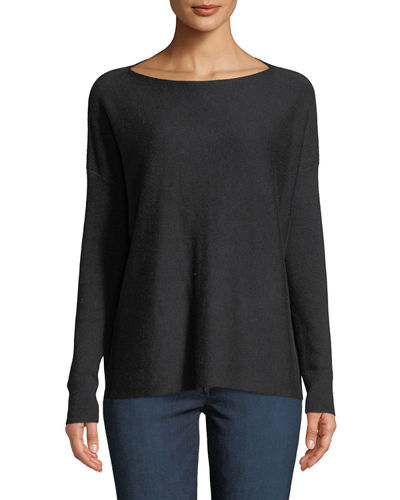 Lilla P. Long-Sleeve Ribbed-Side Boat Neck Easy Top