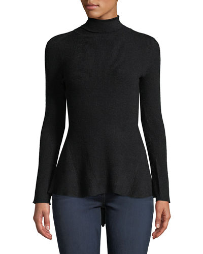Asymmetric-Hem Seamed Turtleneck Sweater