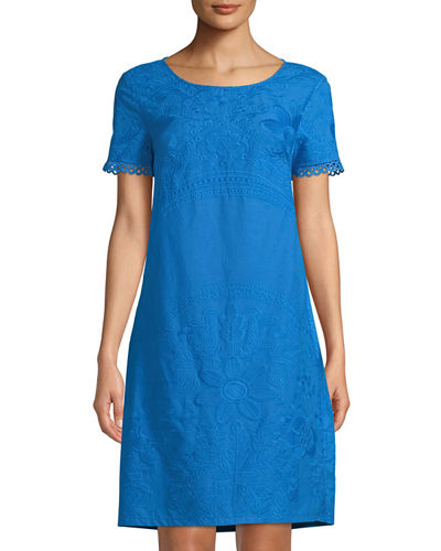 Short-Sleeve Embroidered Peasant Dress