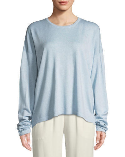 Eskandar Crewneck Long-Sleeve Oversize Silk Sweater