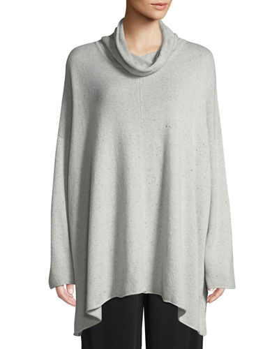 Cowl-Neck Long-Sleeve A-Line Cashmere-Blend Top