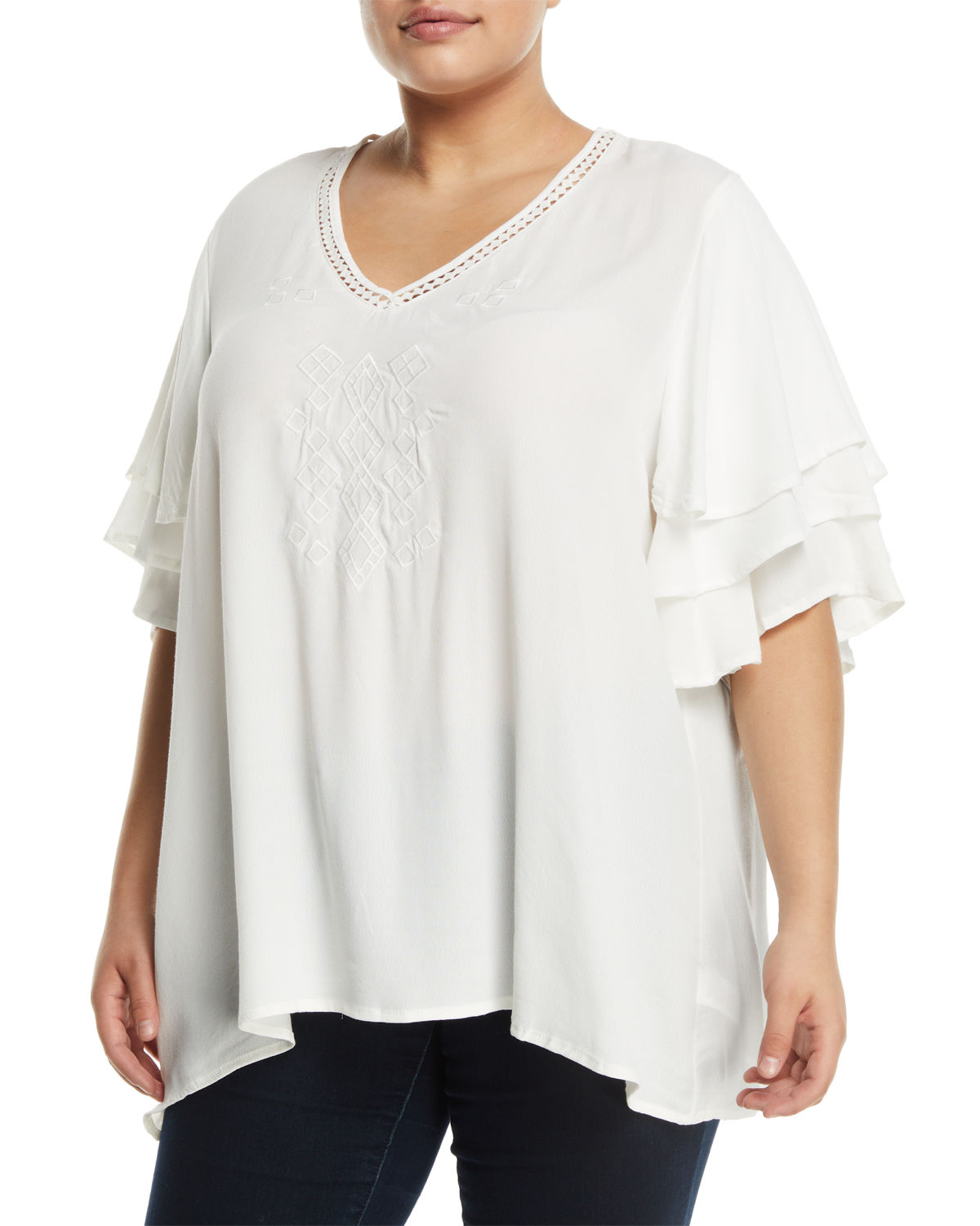 Clare Tiered-Sleeve Embroidered Blouse, Plus Size