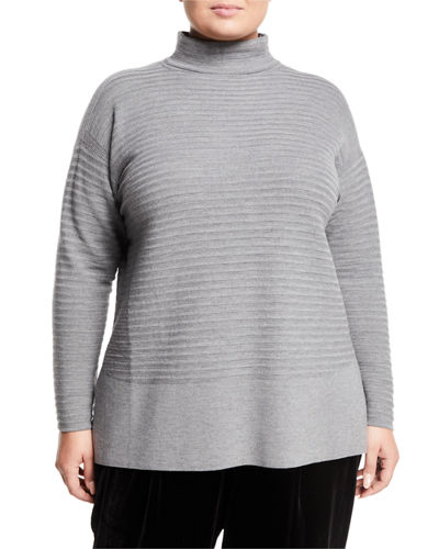 Ribbed-Turtleneck Sweater, Plus Size