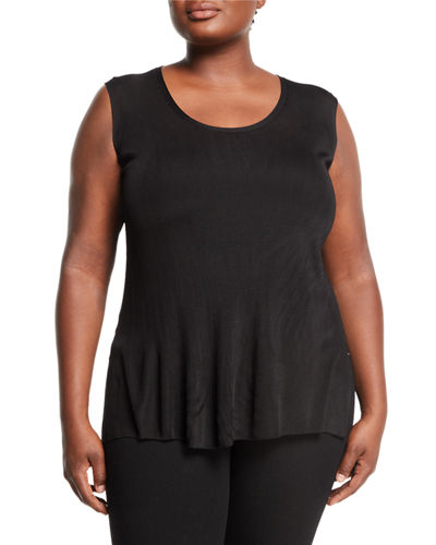 Lafayette 148 New York Long Side-Slit Ribbed Tank,