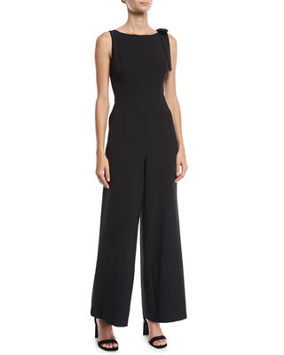 Bow-Shoulder Wide-Leg Jumpsuit, Black