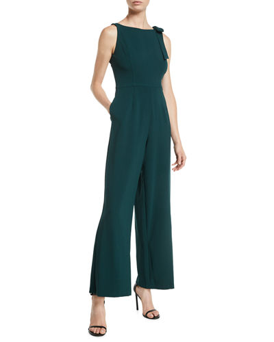 Bow-Shoulder Wide-Leg Jumpsuit