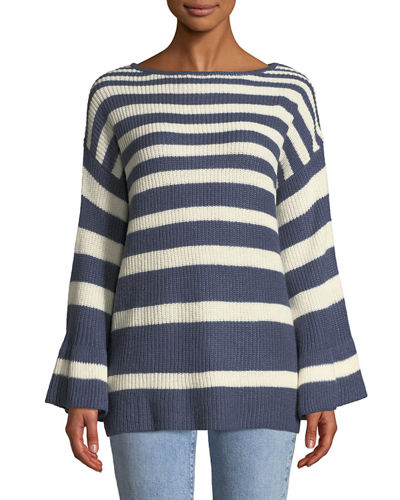 Soho Knit Striped Bell-Sleeve Sweater