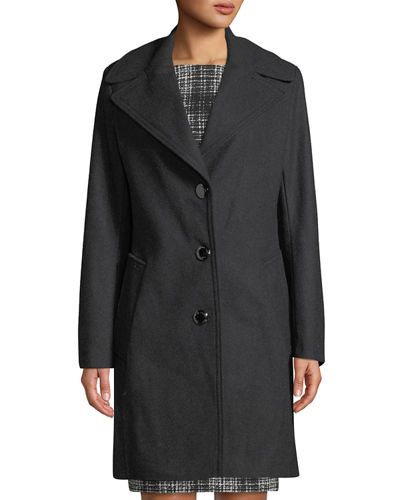 Single-Breasted Wool Reefer Coat