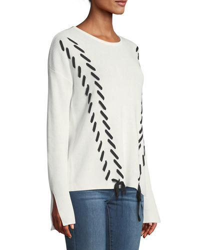 Crewneck Lace-Up Sweater