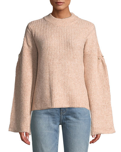 Drop-Shoulder Pearly-Pinned Sleeve Sweater