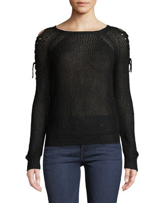 ANNA CAI Lace-Up-Shoulder Pullover Sweater in Black