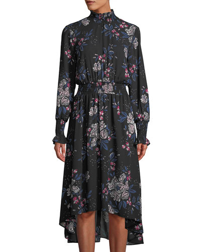 Floral-Print Smocked-Trim High-Low Dress