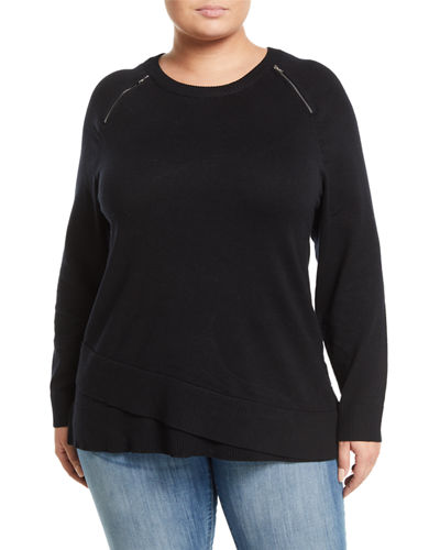 Zipper-Shoulder Wrapped-Hem Sweater, Plus Size