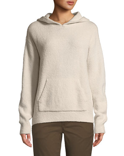 Ribbed Cozy-Knit Pullover Hoodie