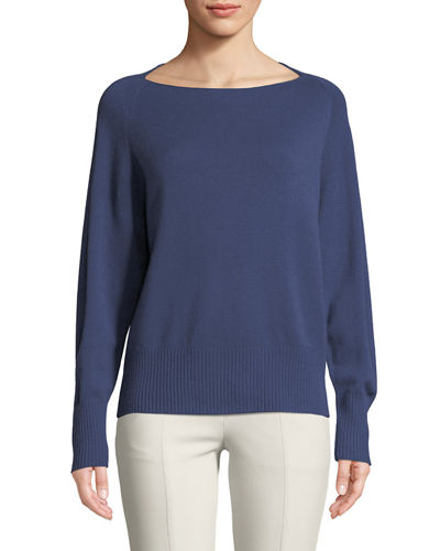 Lightweight Boat-Neck Pullover Sweater