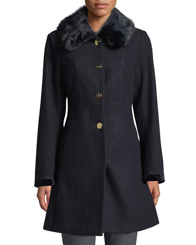 Laundry By Shelli Segal BELTED FAUX-FUR COLLAR FIT-&-FLARE COAT