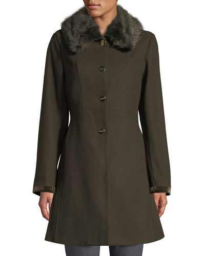 Laundry By Shelli Segal Belted Faux-Fur Collar Fit-&-Flare