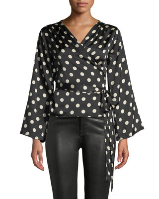 ASH RAIN+OAK Ruth Striped Trumpet-Sleeve Wrap Blouse in Black