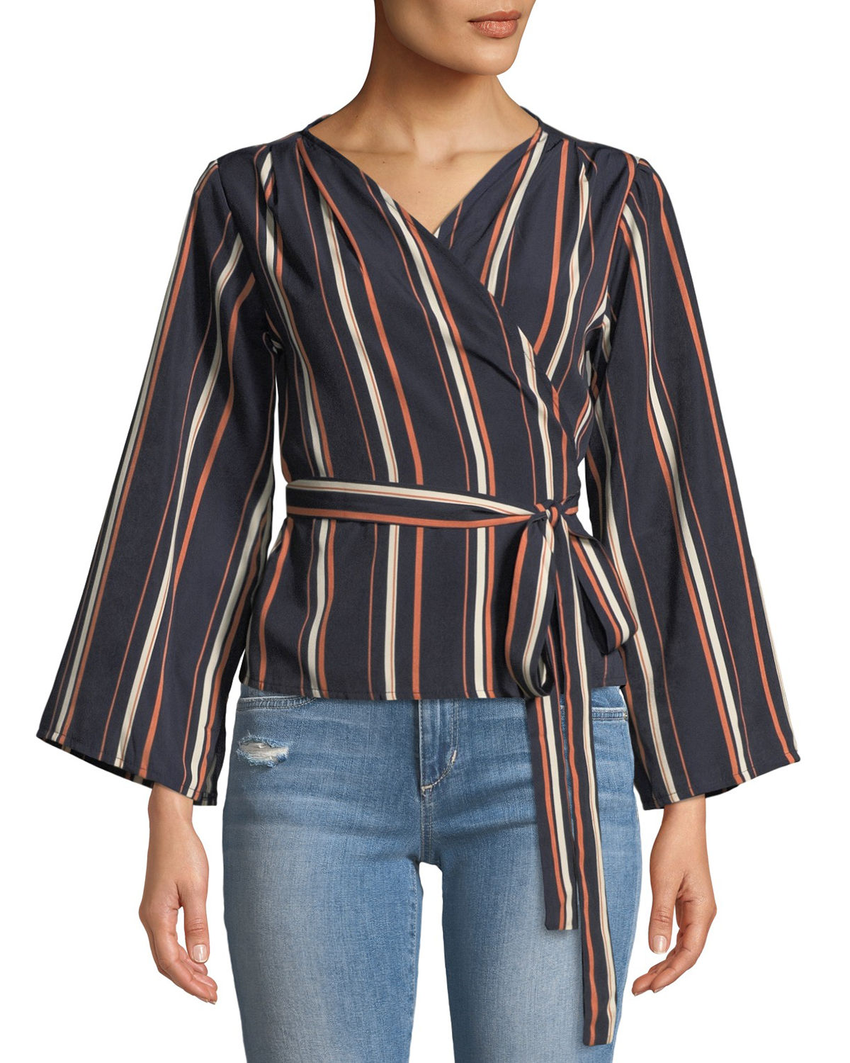 Ruth Striped Trumpet-Sleeve Wrap Blouse