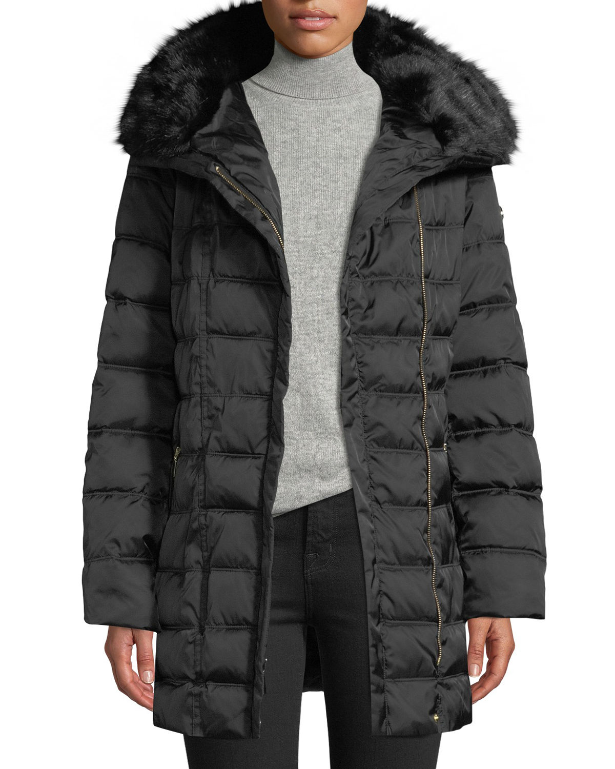 Laundry By Shelli Segal Faux Fur-Trim Hooded Puffer Coat, BLACK