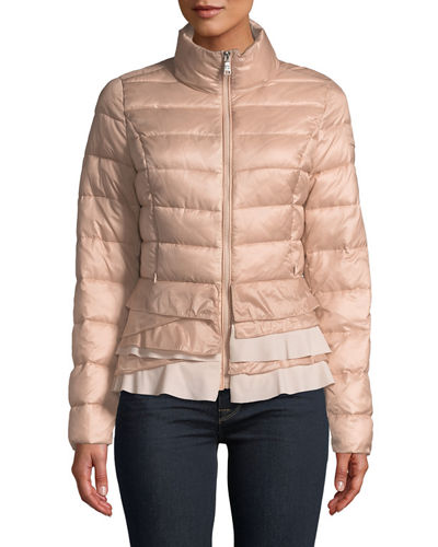 Flare-Hem Stand-Collar Packable Puffer Jacket