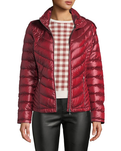 Iconic American Designer Packable Chevron Down-Fill Hooded Puffer