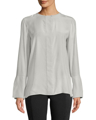 Lafayette 148 New York Georgie Silk Beaded-Trim Long-Sleeve