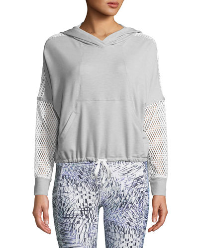 Shannon Long-Sleeve Cropped Hoodie with Mesh Sleeves
