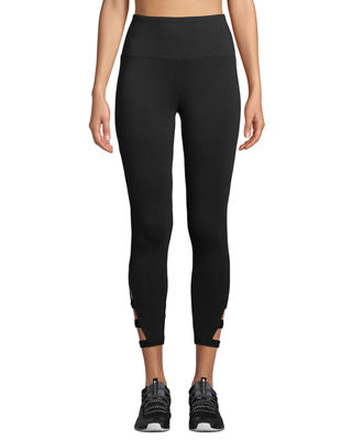 MARC NY PERFORMANCE High-Waist Banded-Cutout Capri Leggings in Black