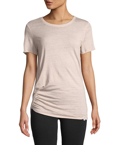 Marc NY Performance Twisted Pick-Up Ruched Short-Sleeve Tee