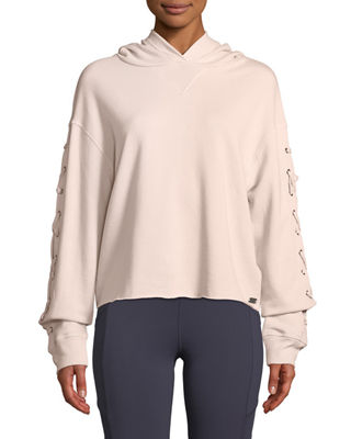 MARC NY PERFORMANCE Lace-Up Sleeve Terry Hoodie in Pink