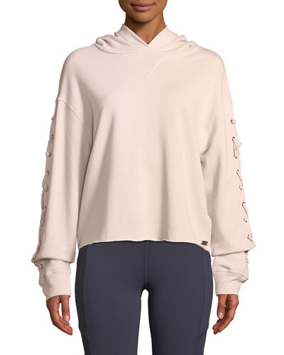 Marc NY Performance Lace-Up Sleeve Terry Hoodie
