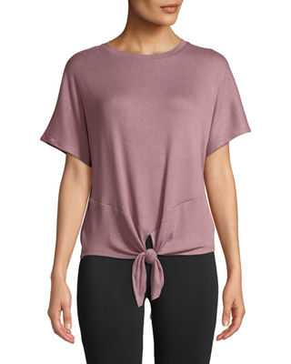 MARC NY PERFORMANCE Short-Sleeve Knot Front Ribbed Tee in Pink