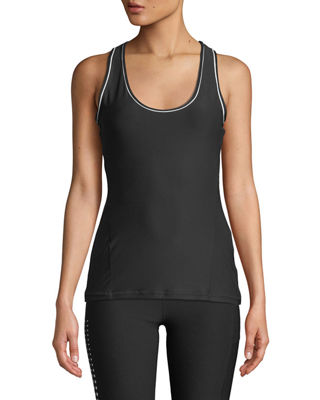 X BY GOTTEX Slim Body Fit Piped Tank Top in Black