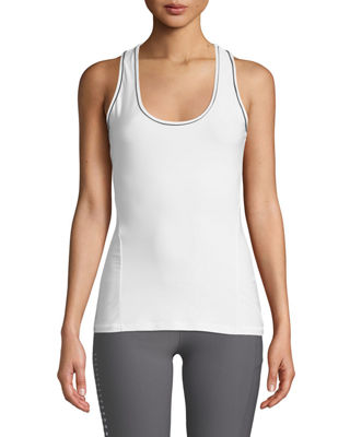 X BY GOTTEX Slim Body Fit Piped Tank Top in White