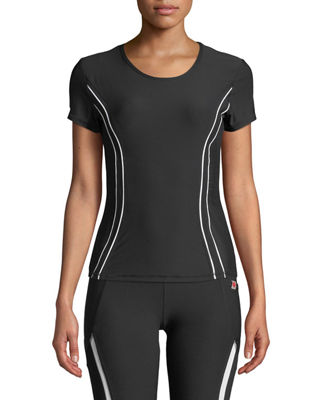 X BY GOTTEX Piped Mesh-Side Tee in Black